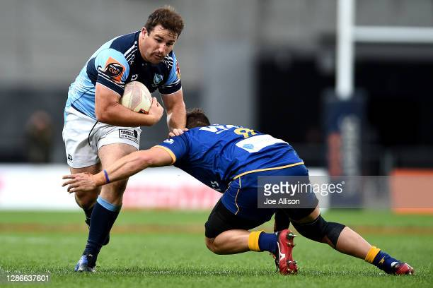 Jordan Olsen of Northland runs into the defence during the Mitre 10 Cup Semi Final match between Otago and Northland at Forsyth Barr Stadium on...