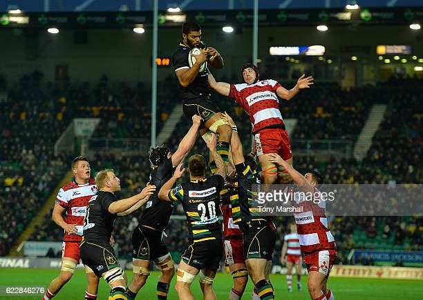 Jordan Onojaife of Northampton Saints gathers the ball in the line out during the AngloWelsh Cup match between Northampton Saints and Gloucester...
