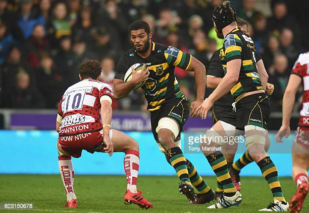 Jordan Onojaife of Northampton Saints pushes forward during the AngloWelsh Cup match between Northampton Saints and Gloucester Rugby at Franklin's...