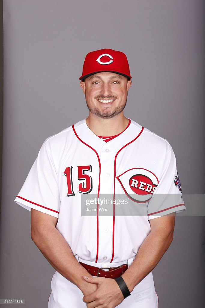 Jordan Pacheco #15 of the Cincinnati Reds poses during Photo Day on Wednesday, February 24, 2016 at Goodyear Ballpark in Goodyear, Arizona.
