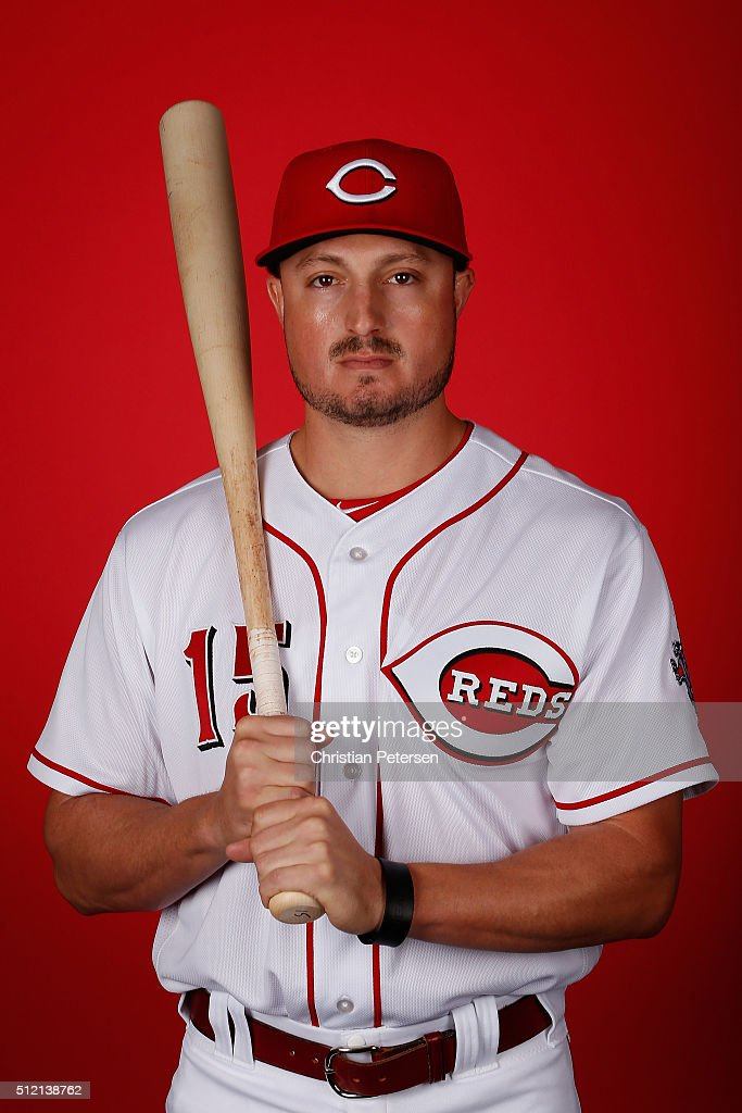 Jordan Pacheco #15 of the Cincinnati Reds poses for a portrait during spring training photo day at Goodyear Ballpark on February 24, 2016 in Goodyear, Arizona