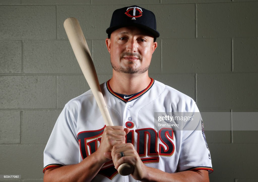 Jordan Pacheco #62 of the Minnesota Twins poses for a portrait on February 21, 2018 at Hammond Field in Ft. Myers, Florida.