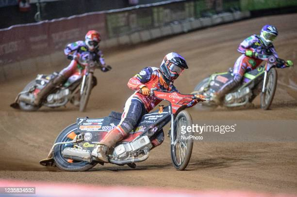 Jordan Palin leads Richie Worrall and Tom Brennan during the SGB Premiership Grand Final 1st Leg between Belle Vue Aces and Peterborough Panthers at...