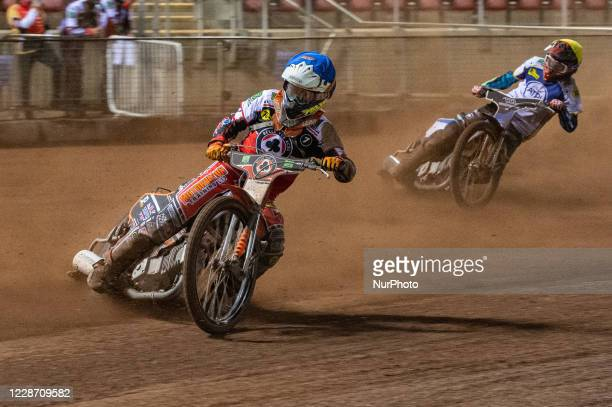 Jordan Palin of Belle Vue 'BikeRight' Aces leads Josh MacDonald of the 'ATPI' All Stars Belle Vue Bikerite Aces v ATPI All Stars Premiership...