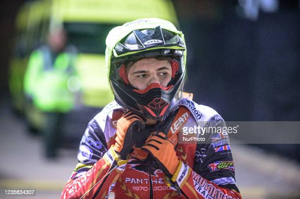 Jordan Palin prepares to go out for his next heat during the SGB Premiership Grand Final 1st Leg between Belle Vue Aces and Peterborough Panthers at...