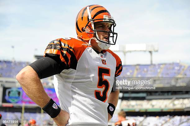 Jordan Palmer of the Cincinnati Bengals looks on from the sidelines against the Baltimore Ravens at M&T Bank Stadium on October 11, 2009 in...