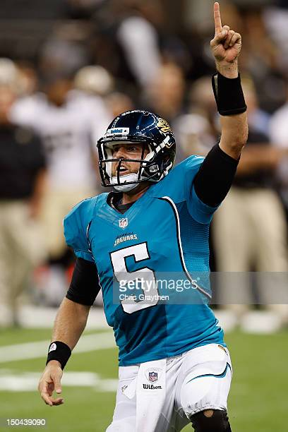 Jordan Palmer of the Jacksonville Jaguars celebrates after throwing a touchdown pass to win the game 2724 against the New Orleans Saints at the...