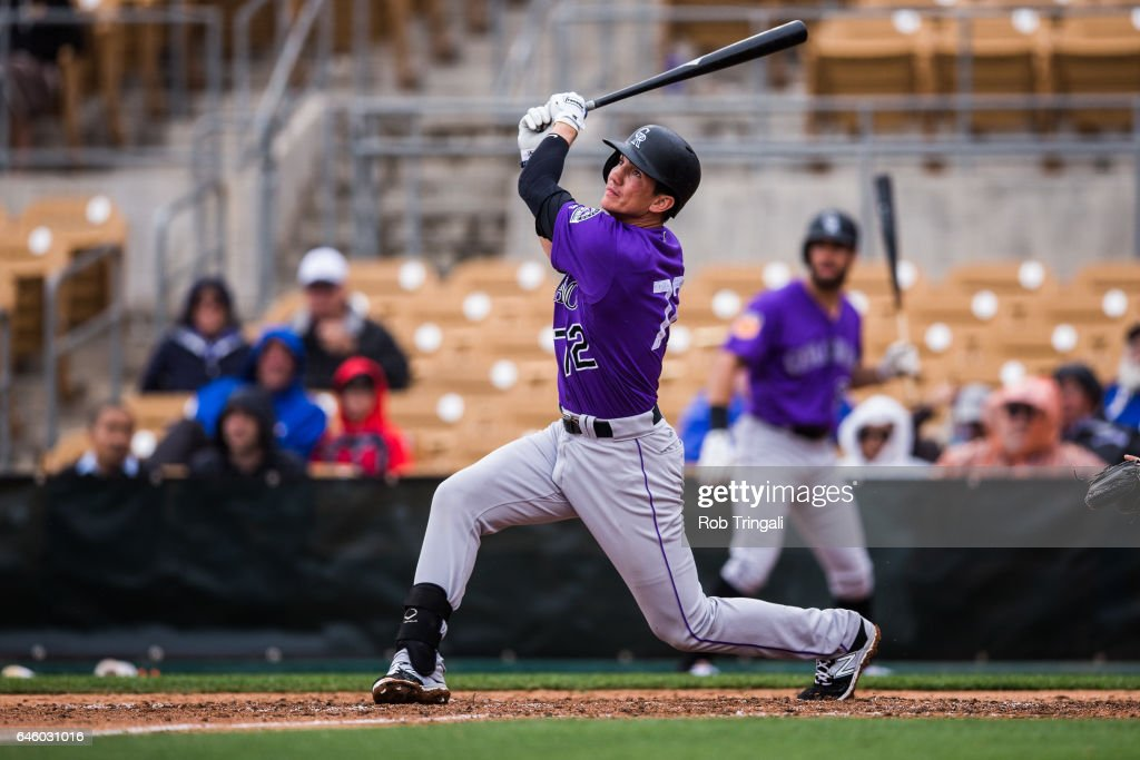 Jordan Patterson #72 of the Colorado Rockies bats in the fourth inning during a spring training game against the Los Angeles Dodgers at Camelback Ranch on February 27, 2017 in Glendale, Arizona.