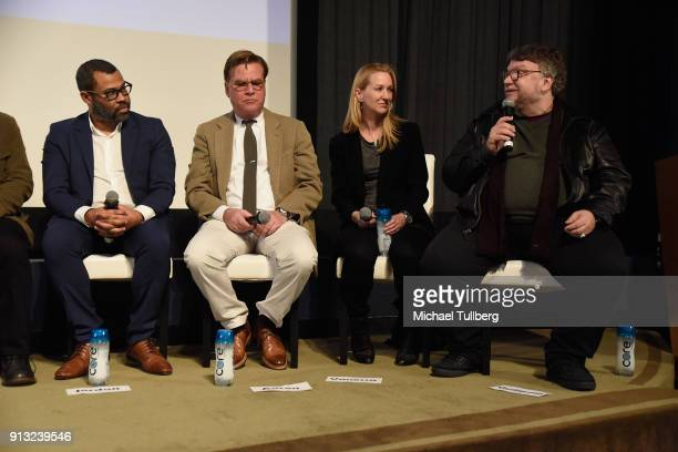 Jordan Peele Aaron Sorkin Vanessa Taylor and Guillermo del Toro speak at the Writers Guild's 'Beyond Words 2018' at Writers Guild Theater on February...