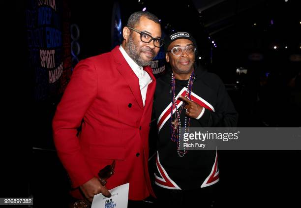 Jordan Peele accepts the award for Best Director for Get Out with filmmaker Spike Lee at the 2018 Film Independent Spirit Awards on March 3 2018 in...