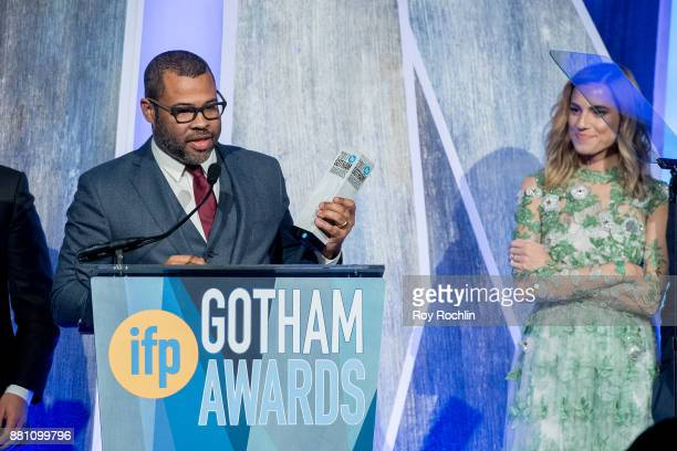 Jordan Peele and Allison Williams onstage during IFP's 27th Annual Gotham Independent Film Awards at Cipriani Wall Street on November 27 2017 in New...