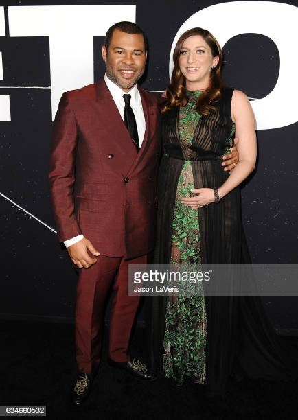 Jordan Peele and Chelsea Peretti attend a screening of 'Get Out' at Regal LA Live Stadium 14 on February 10 2017 in Los Angeles California