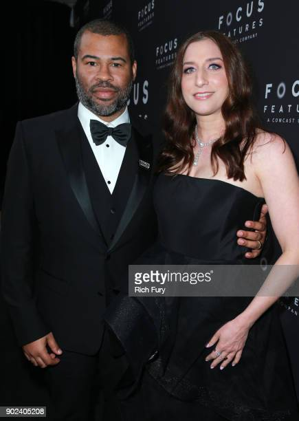 Jordan Peele and Chelsea Peretti attend Focus Features Golden Globe Awards After Party on January 7 2018 in Beverly Hills California