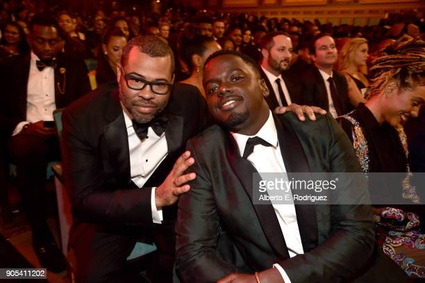 Jordan Peele and Daniel Kaluuya pose during the 49th NAACP Image Awards at Pasadena Civic Auditorium on January 15 2018 in Pasadena California