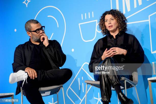 Jordan Peele and Donna Langley speak on stage at the Unconventional Storytelling A Creative Conversation with Donna Langley and Jordan Peele panel at...