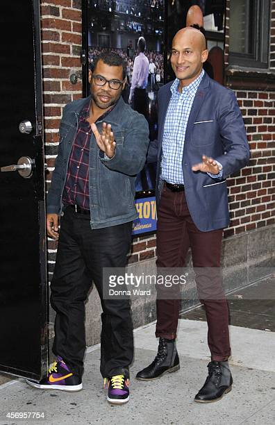 Jordan Peele and KeeganMichael Key arrive for the Late Show with David Letterman at Ed Sullivan Theater on October 9 2014 in New York City