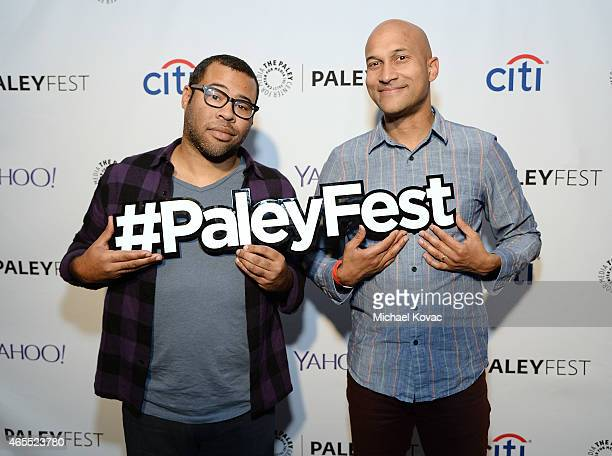 Jordan Peele and KeeganMichael Key attend The Paley Center For Media's 2015 Salute To Comedy Central at Dolby Theatre on March 7 2015 in Hollywood...