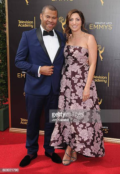 Jordan Peele and wife Chelsea Peretti arrive at the 2016 Creative Arts Emmy Awards at Microsoft Theater on September 11 2016 in Los Angeles California