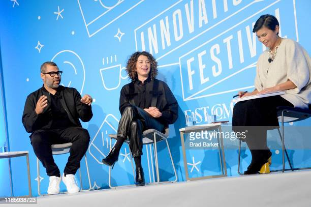 Jordan Peele Donna Langley and Stephanie Mehta speak on stage at the Unconventional Storytelling A Creative Conversation with Donna Langley and...