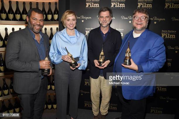 Jordan Peele Greta Gerwig Paul Thomas Anderson and Guillermo del Toro visit the Dom Perignon Lounge after receiving the Outstanding Directors Award...