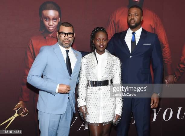 Jordan Peele Lupita Nyong'o and Winston Duke attend the US premiere at Museum of Modern Art on March 19 2019 in New York City