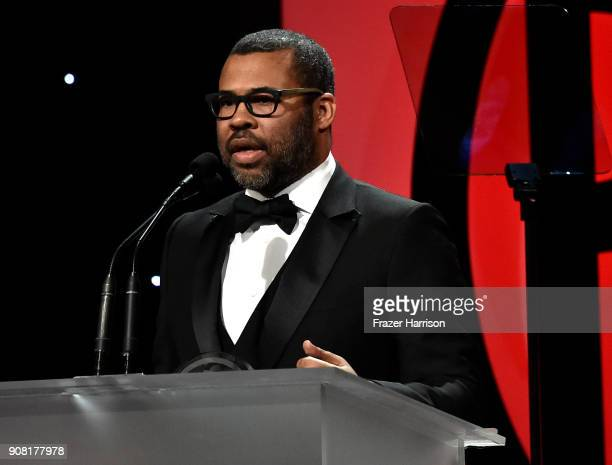 Jordan Peele on stage at the 29th Annual Producers Guild Awards at The Beverly Hilton Hotel on January 20 2018 in Beverly Hills California