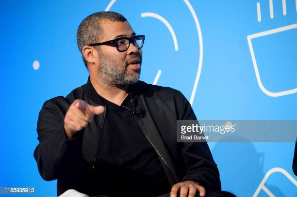 Jordan Peele speaks on stage at the Unconventional Storytelling A Creative Conversation with Donna Langley and Jordan Peele panel at the Fast Company...