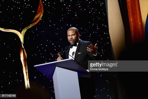 Jordan Peele speaks onstage during the 2018 Writers Guild Awards LA Ceremony at The Beverly Hilton Hotel on February 11 2018 in Beverly Hills...