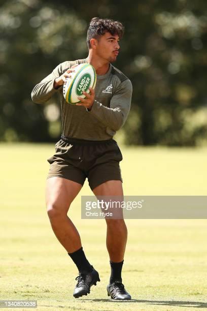 Jordan Petaia during the Australian Wallabies Captain's Run at RACV Royal Pines Resort on September 17, 2021 in Gold Coast, Australia.