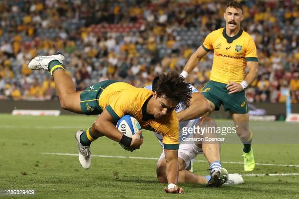 Jordan Petaia of Australia is tackled during the 2020 Tri-Nations match between the Australian Wallabies and the Argentina Pumas at McDonald Jones...