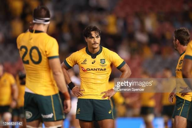 Jordan Petaia of Australia looks dejected during the 2020 Tri-Nations match between the Australian Wallabies and the Argentina Pumas at McDonald...