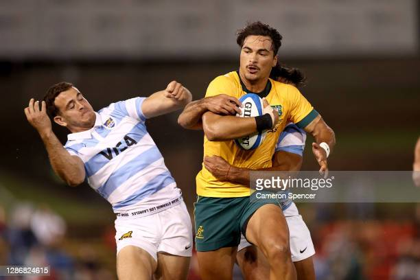 Jordan Petaia of Australia makes a break during the 2020 Tri-Nations match between the Australian Wallabies and the Argentina Pumas at McDonald Jones...