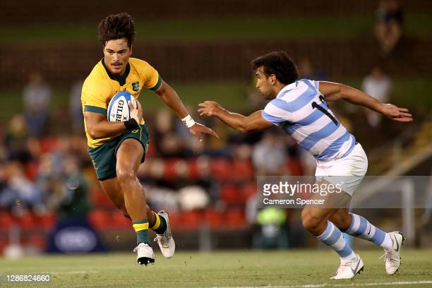 Jordan Petaia of Australia makes a break during the 2020 Tri-Nations match between the Australian Wallabies and the Argentina Pumas at McDonald Jones...