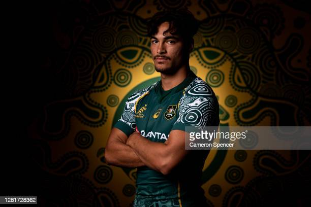 Jordan Petaia of the Wallabies poses during the Australian Wallabies 2020 First Nations Jersey portrait session on October 22 2020 in the Hunter...