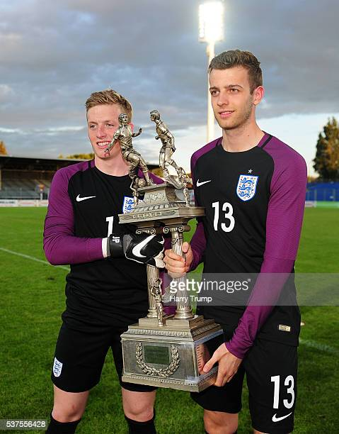 Jordan Pickford and Angus Gunn of England pose during the Final of the Toulon Tournament between England and France at Parc Des Sports on May 29 2016...