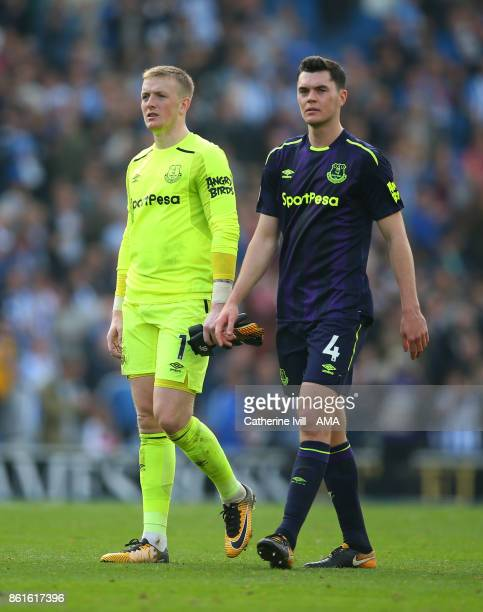 Jordan Pickford and Michael Keane of Everton after the Premier League match between Brighton and Hove Albion and Everton at Amex Stadium on October...
