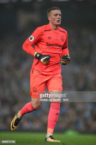 Jordan Pickford during the Premier League match between Manchester City and Everton at Etihad Stadium on August 21 2017 in Manchester England
