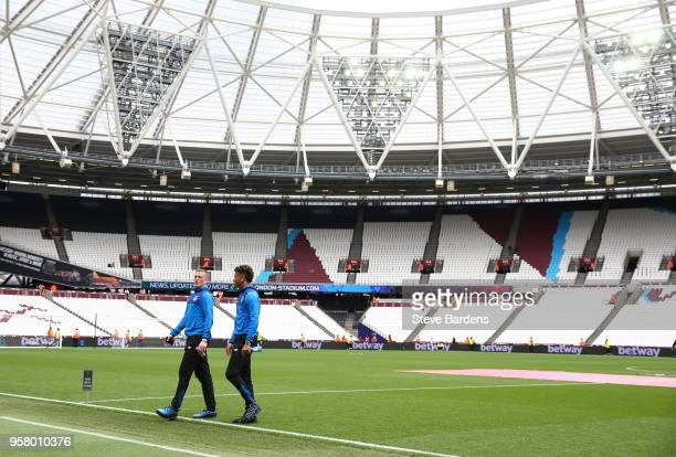 Jordan Pickford of aEverton nd Dominic CalvertLewin of Everton look around the stadium prior to the Premier League match between West Ham United and...