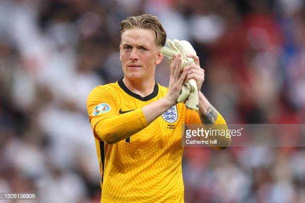 Jordan Pickford of England applauds the fans after the UEFA Euro 2020 Championship Round of 16 match between England and Germany at Wembley Stadium...