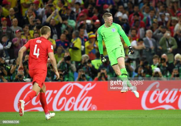 Jordan Pickford of England celebrate after Eric Dier of England scores the winning penalty during the 2018 FIFA World Cup Russia Round of 16 match...