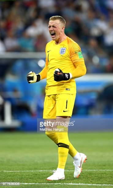 Jordan Pickford of England celebrates after his team's first goal during the 2018 FIFA World Cup Russia group G match between Tunisia and England at...