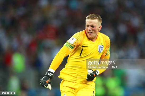 Jordan Pickford of England celebrates after Kieran Trippier of England scored a goal to make it 01 during the 2018 FIFA World Cup Russia Semi Final...