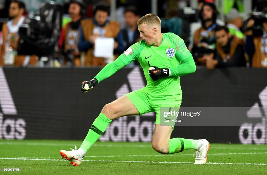 Jordan Pickford of England celebrates after saving the fifth penalty from Carlos Bacca of Colombia in the penalty shoot out during the 2018 FIFA World Cup Russia Round of 16 match between Colombia and England at Spartak Stadium on July 3, 2018 in Moscow, Russia.