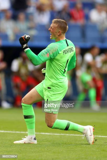 Jordan Pickford of England celebrates after teammate Harry Maguire scores their team's first goal during the 2018 FIFA World Cup Russia Quarter Final...