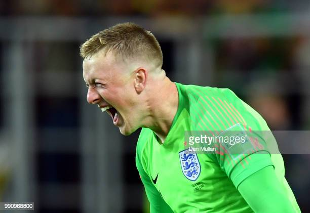 Jordan Pickford of England celebrates following his sides victory in the 2018 FIFA World Cup Russia Round of 16 match between Colombia and England at...
