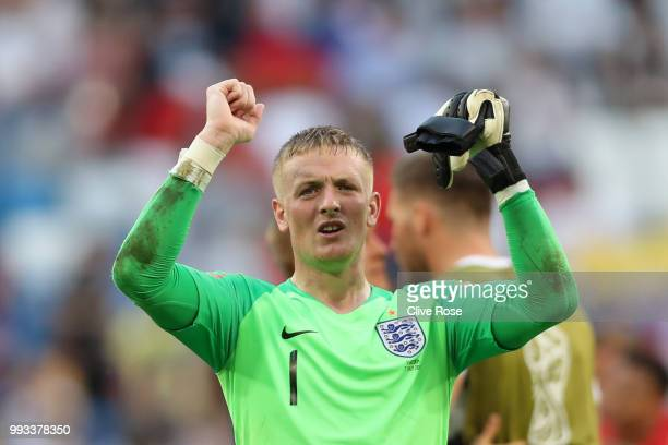 Jordan Pickford of England celebrates following his sides victory in the 2018 FIFA World Cup Russia Quarter Final match between Sweden and England at...