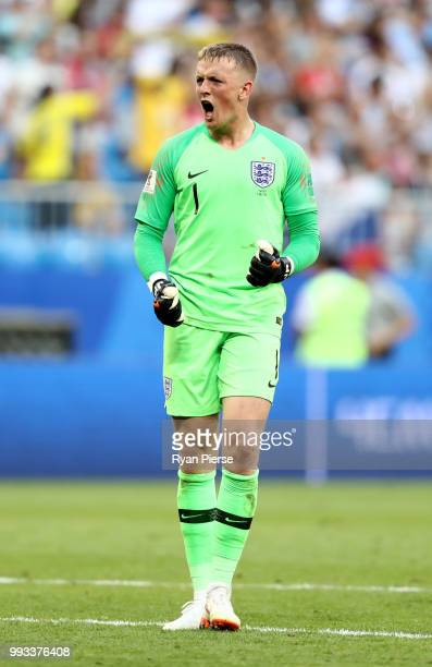 Jordan Pickford of England celebrates victory following the 2018 FIFA World Cup Russia Quarter Final match between Sweden and England at Samara Arena...