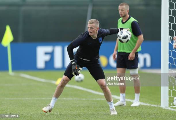 Jordan Pickford of England during a training session as part of the England media access at Spartak Zelenogorsk Stadium ahead of the FIFA World Cup...