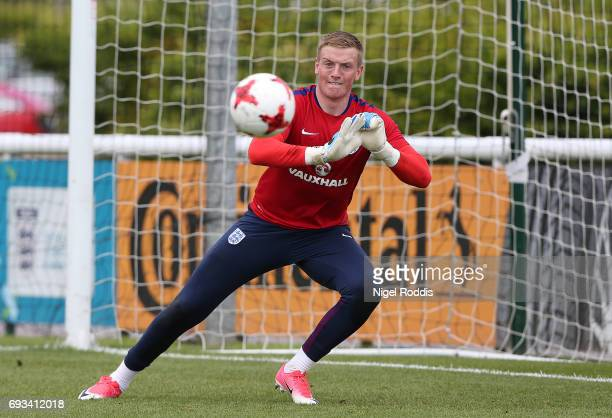 Jordan Pickford of England during a training session at St Georges Park on June 7 2017 in BurtonuponTrent England