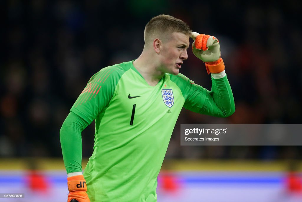 Jordan Pickford of England during the International Friendly match between Holland v England at the Johan Cruijff Arena on March 23, 2018 in Amsterdam Netherlands